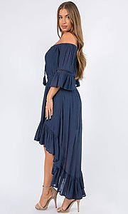 Image of off-the-shoulder high-low casual party dress. Style: LAS-MAV-21-MA9536 Detail Image 4