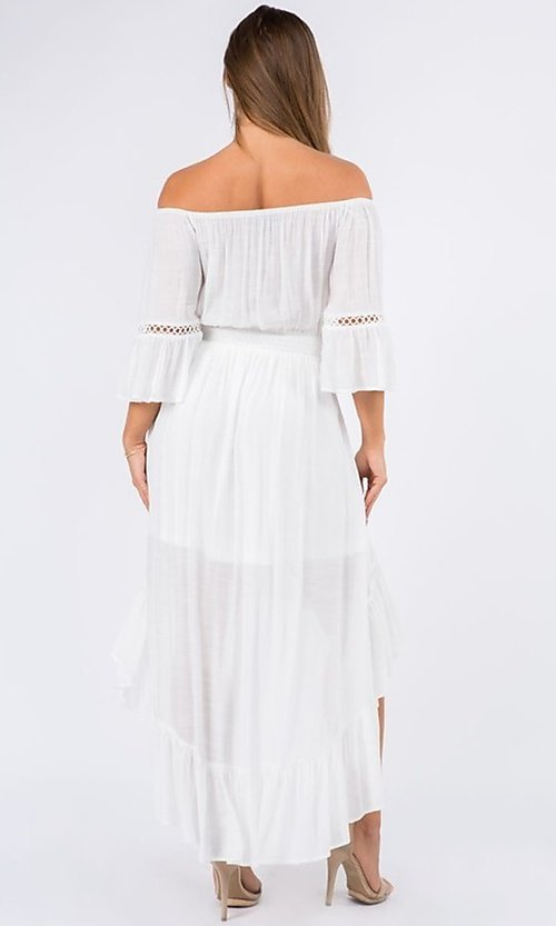 Image of off-the-shoulder high-low casual party dress. Style: LAS-MAV-21-MA9536 Back Image