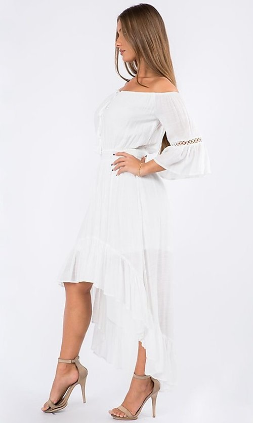 Image of off-the-shoulder high-low casual party dress. Style: LAS-MAV-21-MA9536 Detail Image 1
