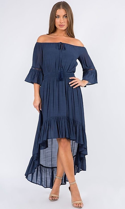 Image of off-the-shoulder high-low casual party dress. Style: LAS-MAV-21-MA9536 Detail Image 2