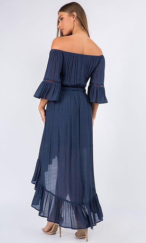 Image of off-the-shoulder high-low casual party dress. Style: LAS-MAV-21-MA9536 Detail Image 3