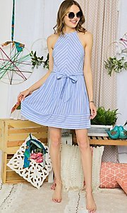 Image of blue striped casual short halter summer dress. Style: FG-UC-21-Y77853-CK Detail Image 1