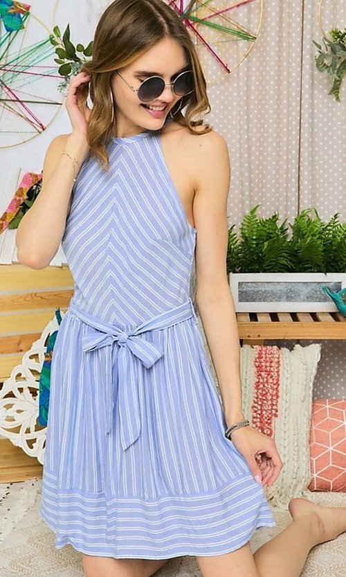 Image of blue striped casual short halter summer dress. Style: FG-UC-21-Y77853-CK Front Image