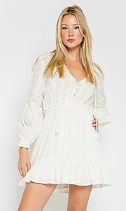 Image of short white grad party dress with long sleeves. Style: FG-OL-21-20-227LDJ Front Image