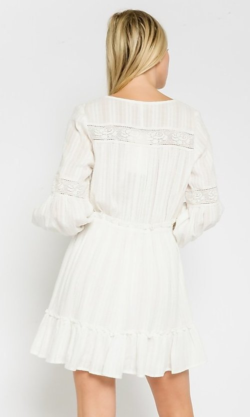 Image of short white grad party dress with long sleeves. Style: FG-OL-21-20-227LDJ Back Image