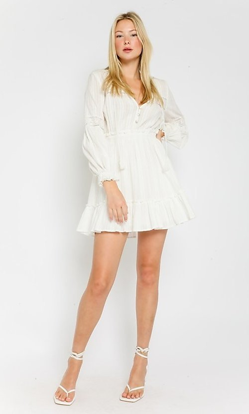 Image of short white grad party dress with long sleeves. Style: FG-OL-21-20-227LDJ Detail Image 1