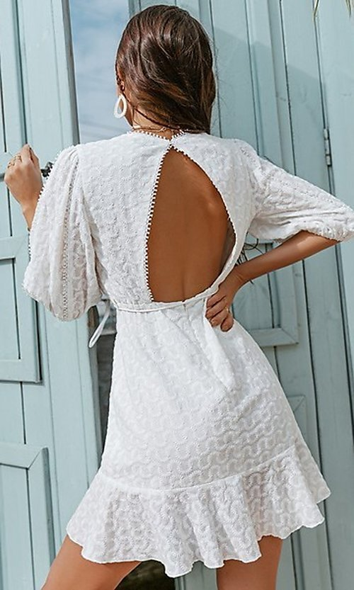 Image of v-neck lantern-sleeve short white grad party dress. Style: FG-BEL-21-G21DR8242 Back Image