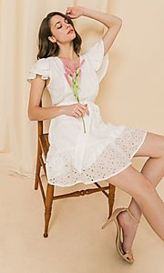 Image of ruffled-sleeve short off-white grad party dress. Style: FG-FT-21-AD2015 Front Image