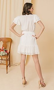 Image of ruffled-sleeve short off-white grad party dress. Style: FG-FT-21-AD2015 Back Image
