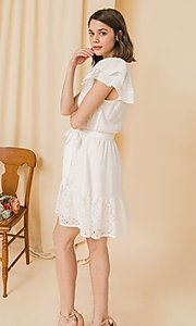 Image of ruffled-sleeve short off-white grad party dress. Style: FG-FT-21-AD2015 Detail Image 2