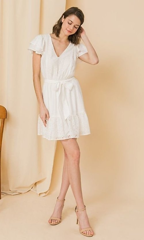 Image of ruffled-sleeve short off-white grad party dress. Style: FG-FT-21-AD2015 Detail Image 1
