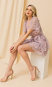Image of pink and blue lace short wedding-guest party dress. Style: FG-FT-21-AD1944P Front Image