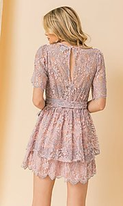 Image of pink and blue lace short wedding-guest party dress. Style: FG-FT-21-AD1944P Back Image