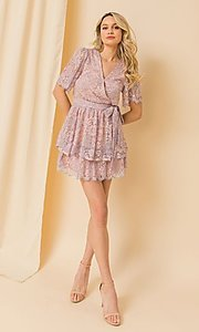 Image of pink and blue lace short wedding-guest party dress. Style: FG-FT-21-AD1944P Detail Image 1
