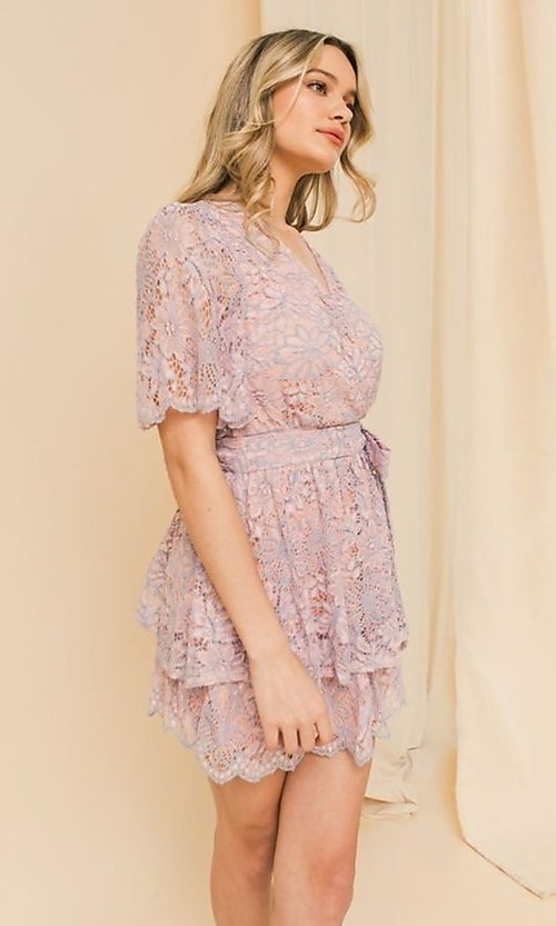 Image of pink and blue lace short wedding-guest party dress. Style: FG-FT-21-AD1944P Detail Image 2