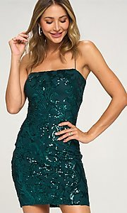 Image of short homecoming party dress with sequins. Style: LAS-LOV-21-OD3420B Front Image