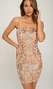 Image of short homecoming party dress with sequins. Style: LAS-LOV-21-OD3420B Detail Image 3