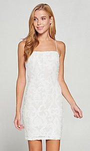 Image of white short graduation party dress with sequins. Style: LAS-LOV-21-OD3420B Front Image