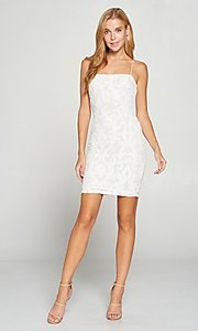 Image of white short graduation party dress with sequins. Style: LAS-LOV-21-OD3420B Detail Image 1