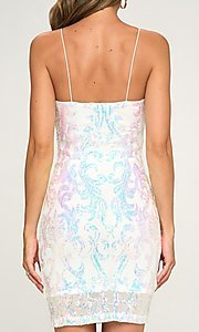 Image of short homecoming party dress with sequins. Style: LAS-LOV-21-OD3420B Detail Image 2