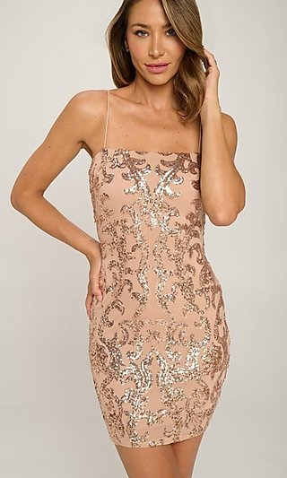 Short Homecoming Party Dress with Sequins