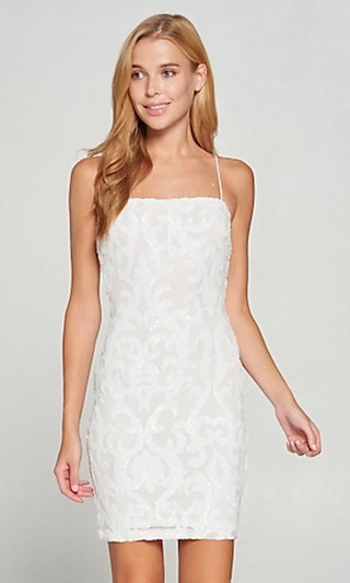 White Short Graduation Party Dress with Sequins