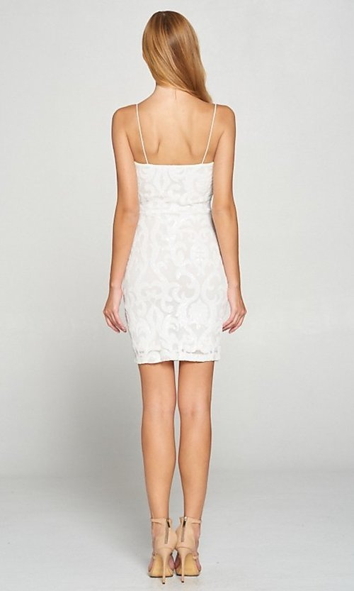 Image of white short graduation party dress with sequins. Style: LAS-LOV-21-OD3420B Back Image