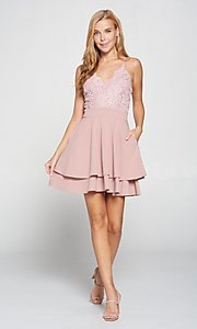 Image of short pink lace-bodice graduation party dress. Style: LAS-LOV-21-ND2174WD Detail Image 1