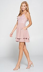Image of short pink lace-bodice graduation party dress. Style: LAS-LOV-21-ND2174WD Detail Image 2