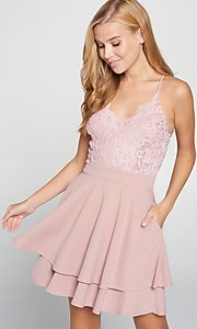 Image of short pink lace-bodice graduation party dress. Style: LAS-LOV-21-ND2174WD Front Image