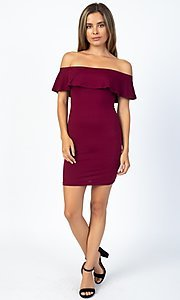 Image of short party dress with off-the-shoulder ruffle. Style: LAS-CAP-21-BD1949 Detail Image 2