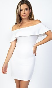 Image of short party dress with off-the-shoulder ruffle. Style: LAS-CAP-21-BD1949 Front Image
