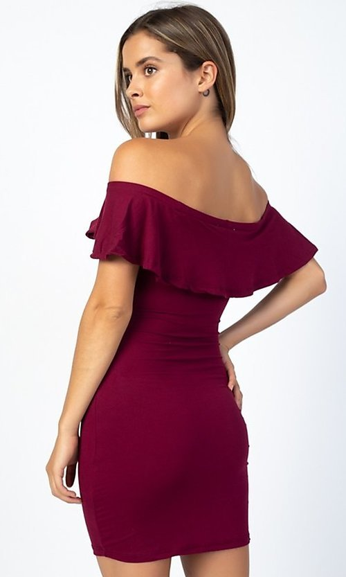 Image of short party dress with off-the-shoulder ruffle. Style: LAS-CAP-21-BD1949 Back Image