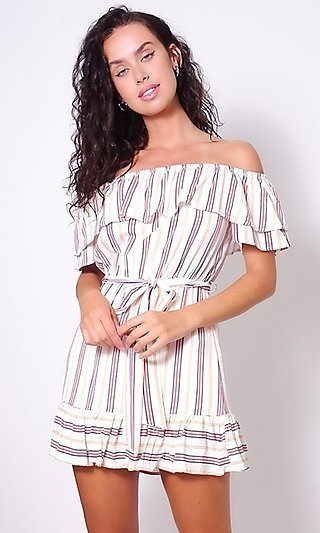 Striped Short Off-the-Shoulder Casual Dress