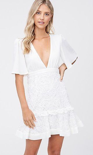 Off-White Short Crocheted Embroidered Grad Dress