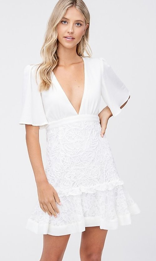 Image of off-white short grad party dress with embroidery. Style: LAS-TCC-21-LD3670 Front Image
