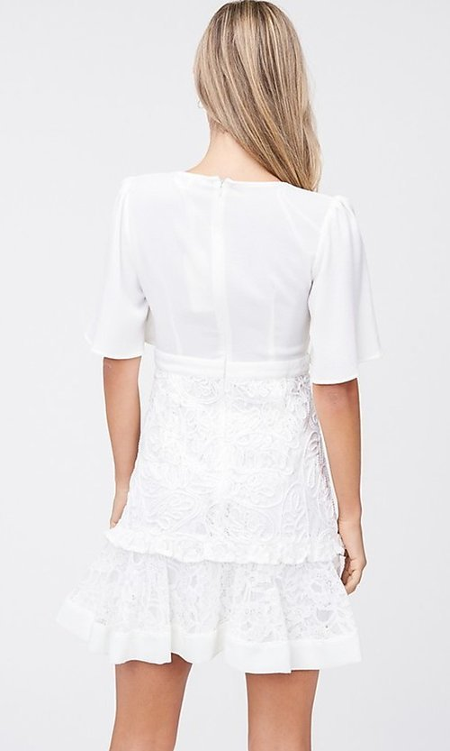 Image of off-white short grad party dress with embroidery. Style: LAS-TCC-21-LD3670 Back Image