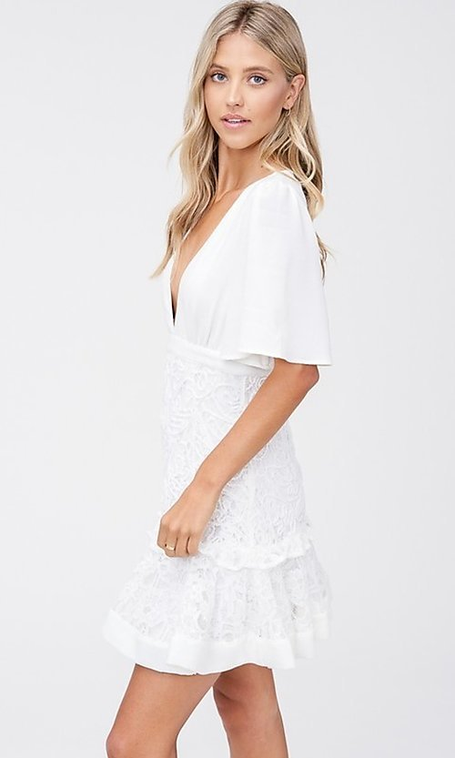 Image of off-white short grad party dress with embroidery. Style: LAS-TCC-21-LD3670 Detail Image 2