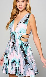 Image of multi-color cut-out short casual summer dress. Style: LAS-LOV-21-MD1286F Front Image
