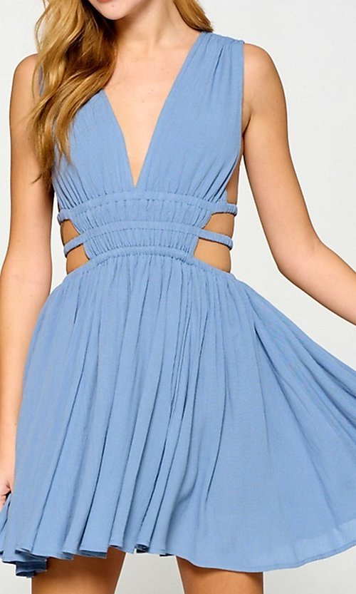 Image of cut-out short low v-neck casual summer dress. Style: LAS-LOV-21-MD1286 Detail Image 5