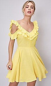Image of short canary yellow casual summer party dress. Style: FG-DNB-21-Y18388 Front Image