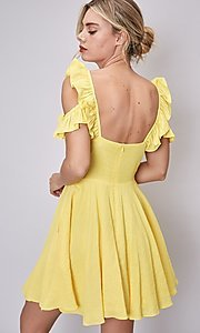 Image of short canary yellow casual summer party dress. Style: FG-DNB-21-Y18388 Back Image