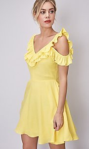 Image of short canary yellow casual summer party dress. Style: FG-DNB-21-Y18388 Detail Image 2