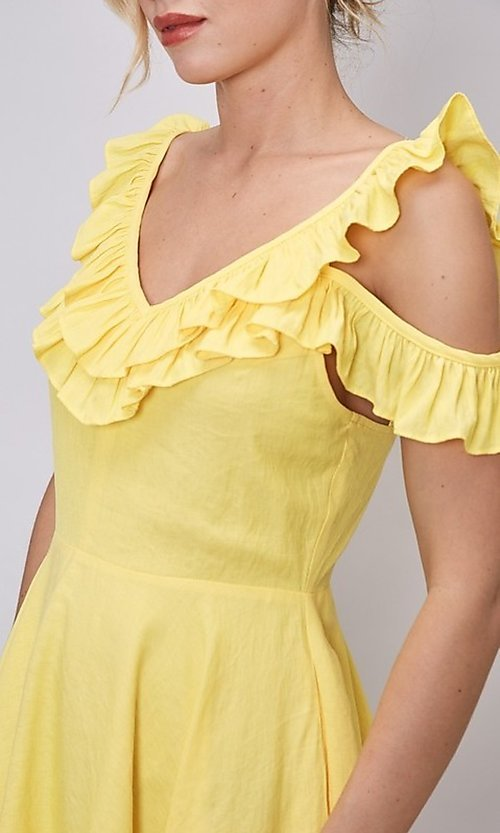 Image of short canary yellow casual summer party dress. Style: FG-DNB-21-Y18388 Detail Image 1