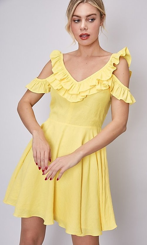 Image of short canary yellow casual summer party dress. Style: FG-DNB-21-Y18388 Detail Image 3