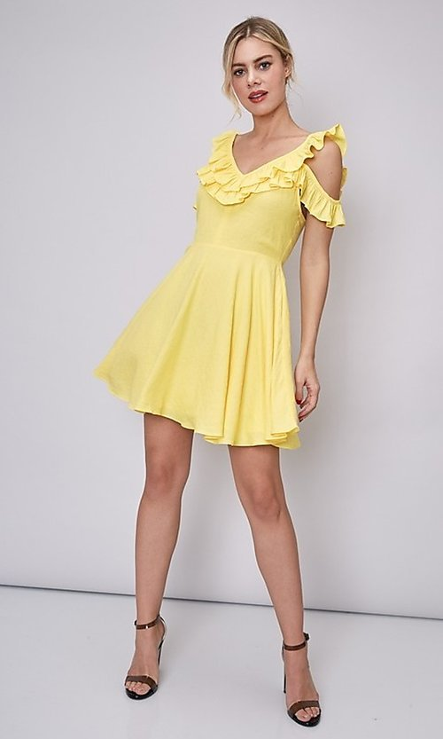 Image of short canary yellow casual summer party dress. Style: FG-DNB-21-Y18388 Detail Image 4