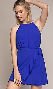 Image of semi-formal short wrap-style party dress. Style: FG-NZB-21-OD112951 Detail Image 1