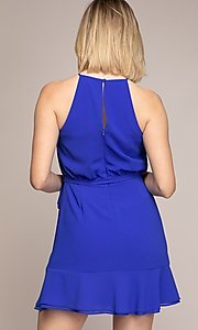 Image of semi-formal short wrap-style party dress. Style: FG-NZB-21-OD112951 Detail Image 2