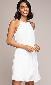 Image of semi-formal short wrap-style party dress. Style: FG-NZB-21-OD112951 Front Image
