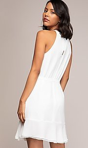 Image of semi-formal short wrap-style party dress. Style: FG-NZB-21-OD112951 Back Image